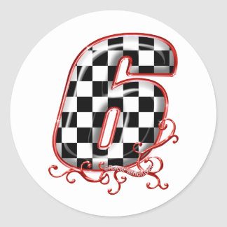 auto racing 6 in  red round sticker