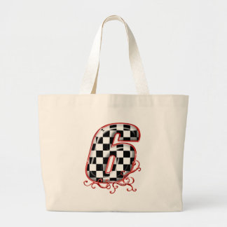 auto racing 6 in  red tote bags