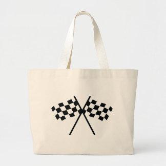 auto racing checker flag jumbo tote bag