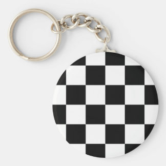 Auto Racing Chequered  Checkered Flag Basic Round Button Key Ring