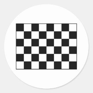 Auto Racing Chequered  Checkered Flag Classic Round Sticker