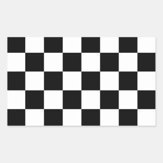 Auto Racing Chequered  Checkered Flag Rectangular Sticker