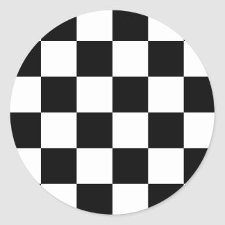 Auto Racing Chequered Flag Round Stickers