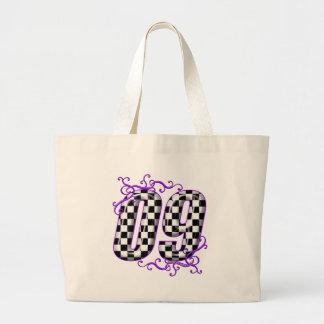 auto racing number 09 purple jumbo tote bag