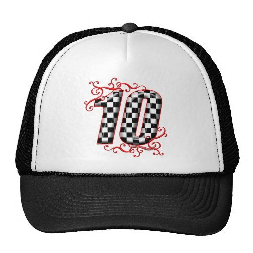 auto racing number 10 hat