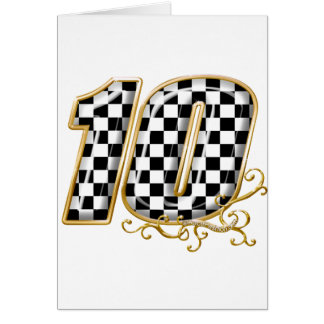 auto racing number 10 in gold greeting card