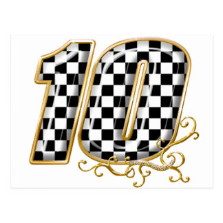 auto racing number 10 in gold postcard