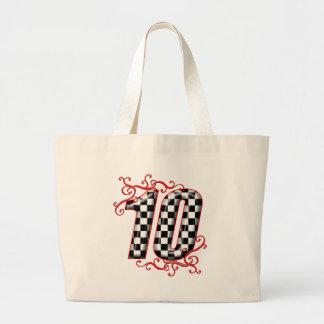 auto racing number 10 jumbo tote bag