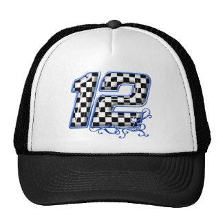 auto racing number 12 blue trucker hat