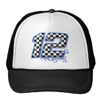 auto racing number 12 blue mesh hats