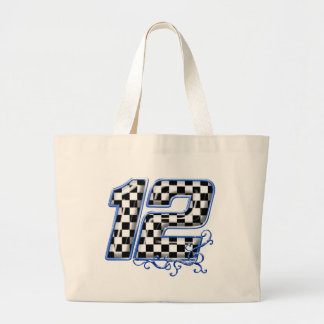auto racing number 12 blue tote bags