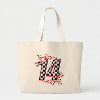 auto racing number 14 jumbo tote bag