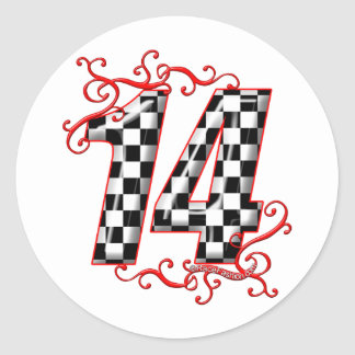 auto racing number 14 round sticker