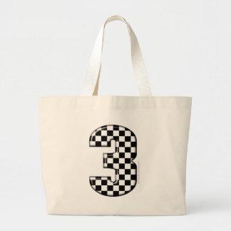 auto racing number 3 jumbo tote bag