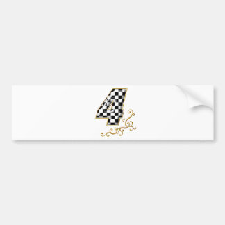 auto racing number 4 bumper sticker