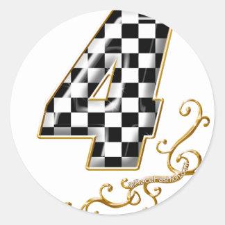 auto racing number 4 round sticker