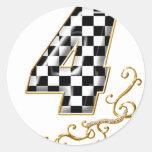 auto racing number 4 sticker