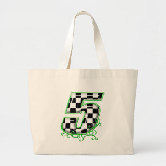 auto racing number 5 green jumbo tote bag