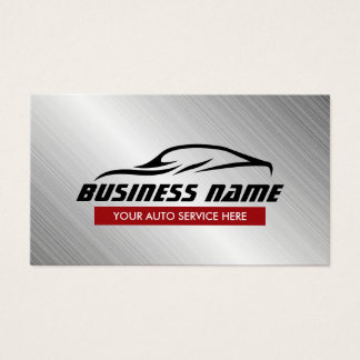 Auto Repair Cool Car Shape Metallic Automotive Business Card