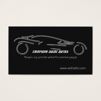 Auto Sales, Luxury Silver Sportscar on black Business Card