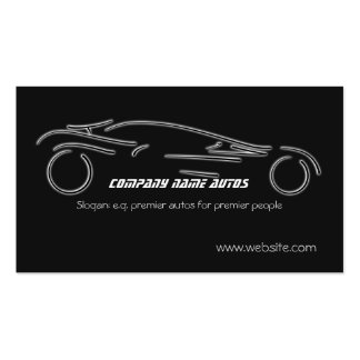 Auto Sales, Luxury Silver Sportscar on black Pack Of Standard Business Cards