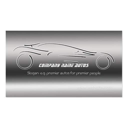 Auto Sales, Luxury Silver Sportscar, steel-effect Business Card Template