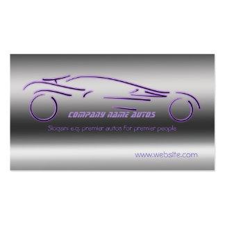 Auto Sales, Purple Luxury Sportscar, steel-effect Pack Of Standard Business Cards