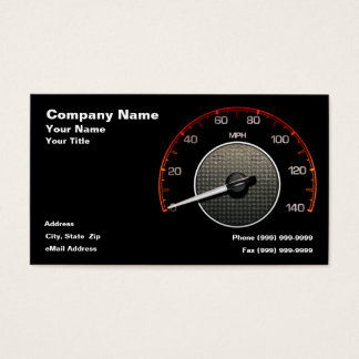 Auto Speedometer Against Black Background Business Card