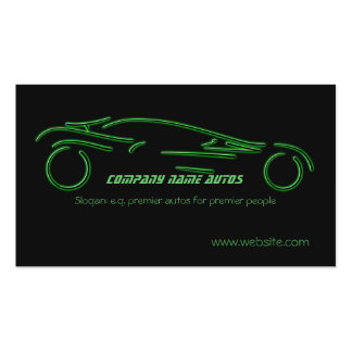 Auto trade Car - Green Sportscar on black template Business Card Templates