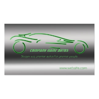 Auto trade Car - Green Sportscar on steel-effect Pack Of Standard Business Cards