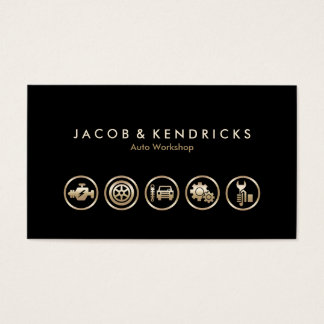 Auto Workshop Gold Icons BusinessCard Business Card