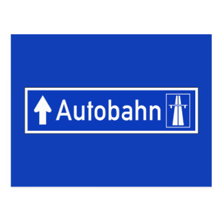 Autobahn, Traffic Sign, Germany Postcard