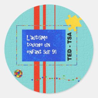 Autocollants L'autisme touche un enfant sur 91 Round Sticker