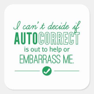 Autocorrect Technology Embarrass Me Humor Green Square Sticker