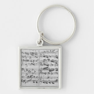 Autograph of the partita 'Sei gegruesset Silver-Colored Square Key Ring