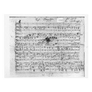 Autograph score for the lied 'Trost' Postcard