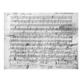 Autograph score sheet for the  Bagatelle opus Postcard