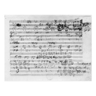 Autograph score sheet for the Trio mi bemol opus Postcard