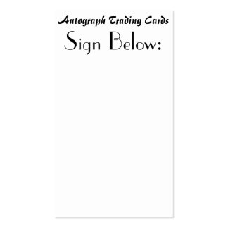 Autograph Trading Cards Pack Of Standard Business Cards