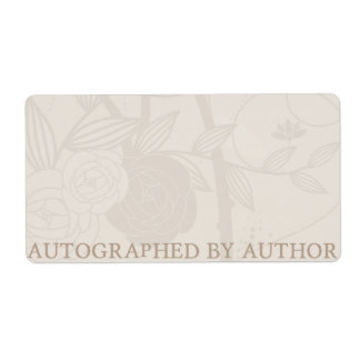 Autographed by Author Bookplate Cream Flower