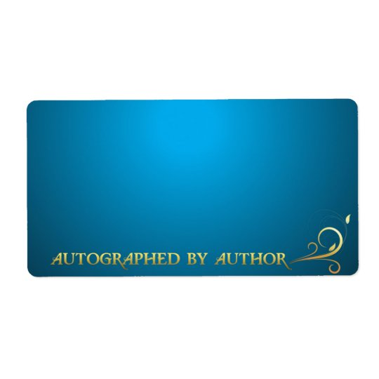 Autographed by Author Gold on Blue Shipping Label