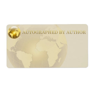 Autographed by Author Gold World Shipping Label