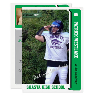 Autographed Trading Card Grad Invitations - Green