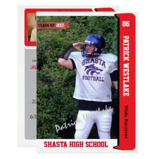 Autographed Trading Card Grad Invitations - red