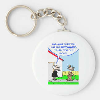 automated teller basic round button key ring