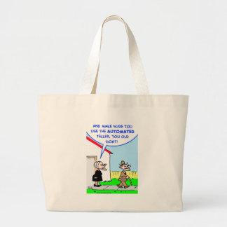 automated teller jumbo tote bag