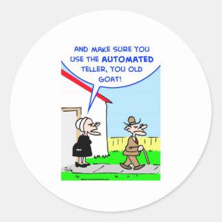 automated teller round sticker