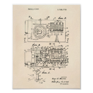 Automatic controller 1973 Patent Art Old Peper Poster