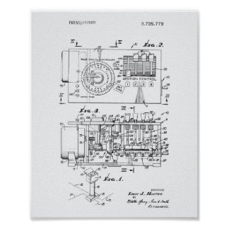 Automatic controller 1973 Patent Art White Paper Poster