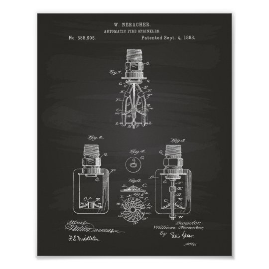 Automatic Fire Sprinkler 1888 Patent - Chalkboard Poster